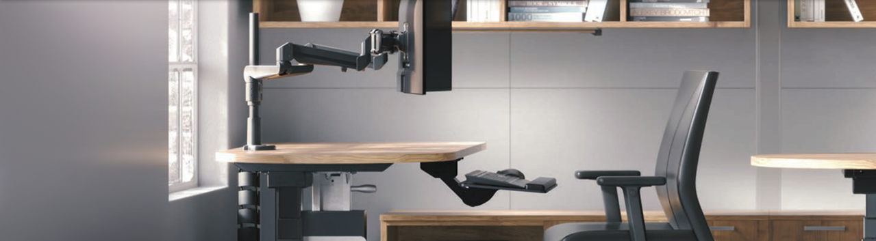A desk, chair, and office equipment